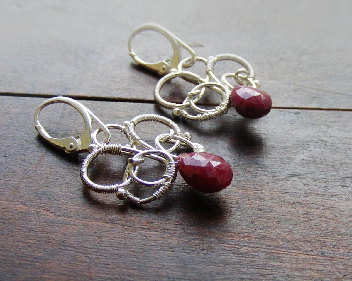 Wire wrapped ruby earrings, sterling silver genuine red ruby earrings, wire wrapped jewelry handmade - kapelusznik
