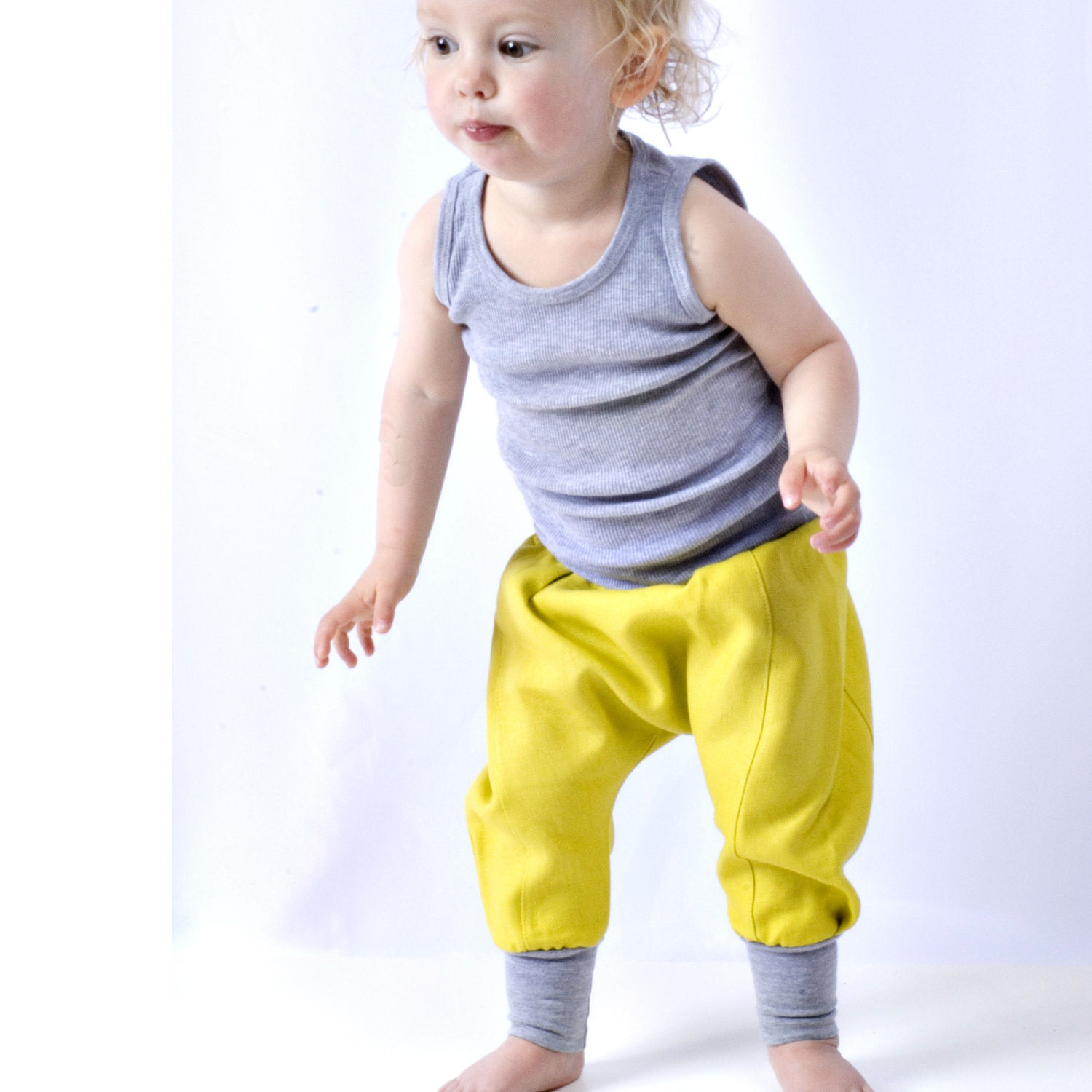 downtown aladdin pants - toddler - lemon/heather grey - unisex boy/girl bottoms - modern bright