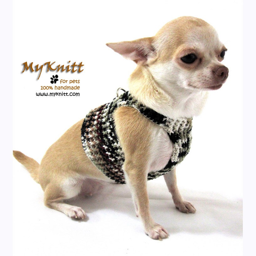 Dog Harness Black Grey Pet Collar Cat  Handmade Crochet Unique DH10 Free Shipping