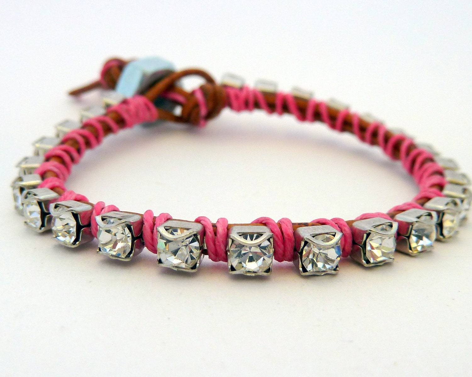 Rhinestone friendship bracelet / brown/ pink / silver - sukoshishop