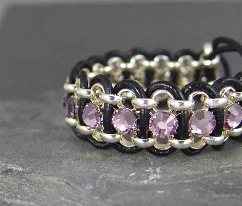 Leather Bracelet Wrap, Purple Amethyst, Swarovski Crystal Rhinestone, Gifts for Her, Gifts 40 and under