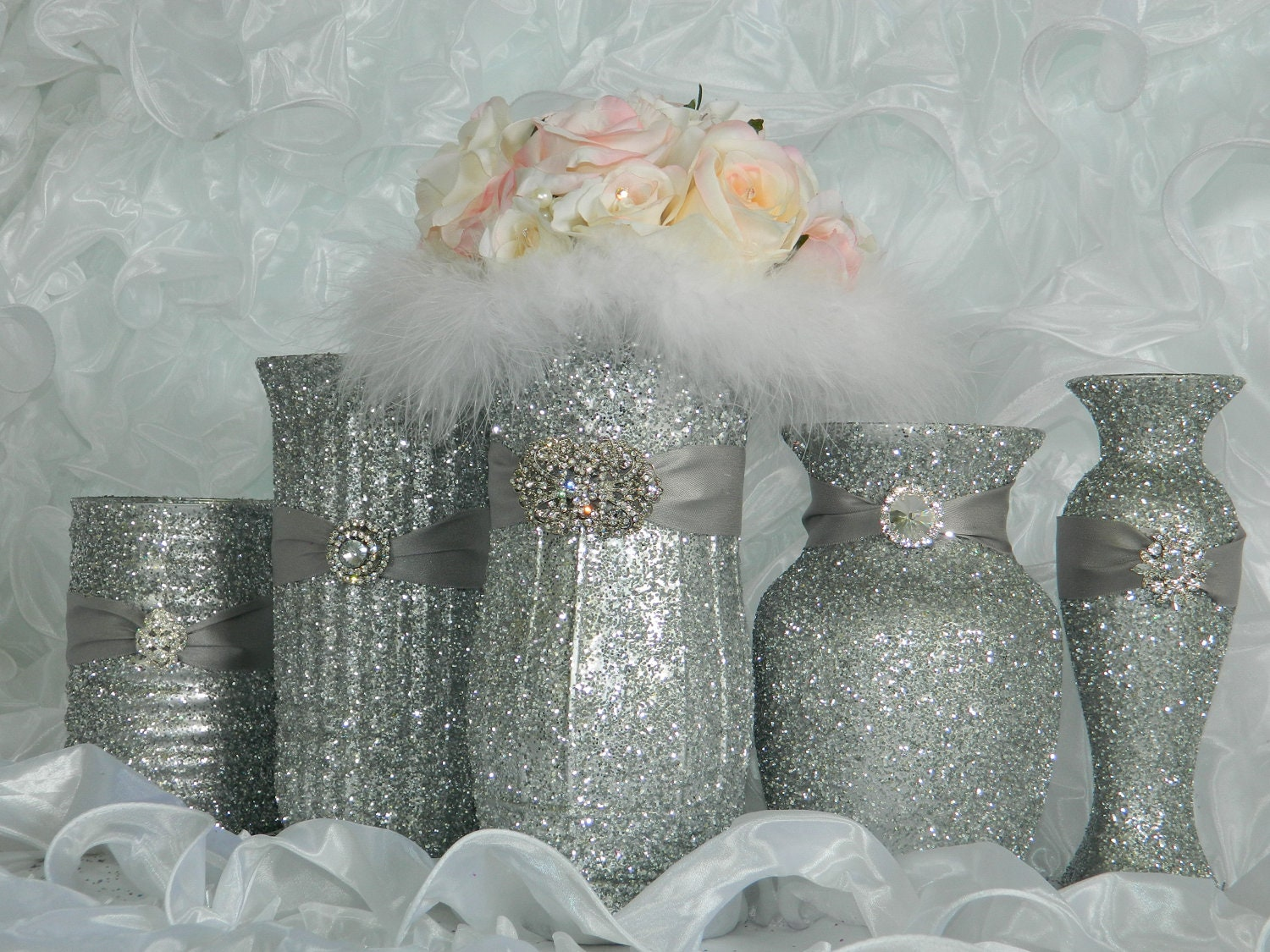Weddings, Wedding Decorations, Wedding Centerpieces, Baby Shower, Bridal Shower, Silver, Shabby Chic, Christmas Decorations, New Years