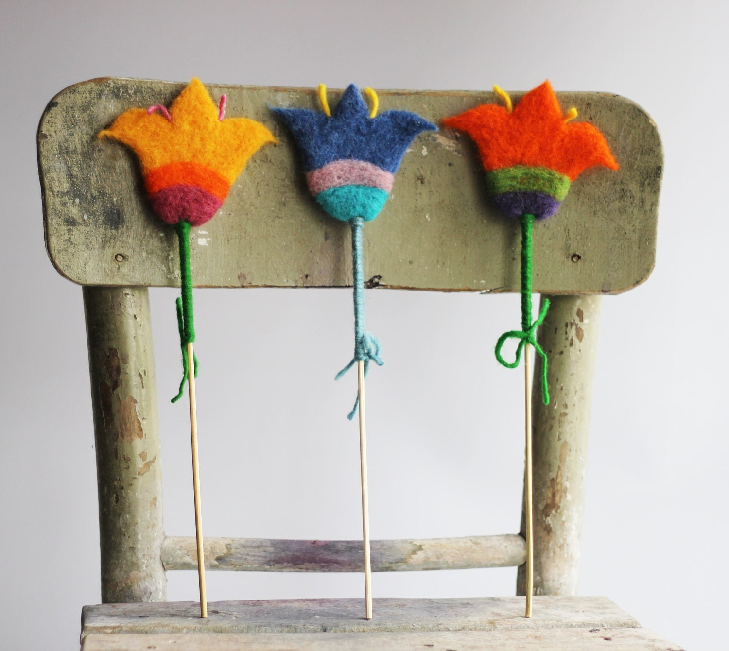 Easter Decoration - Set Of  ThreeFluffy Felted Flowers -  Needle Felted - Home Decoration
