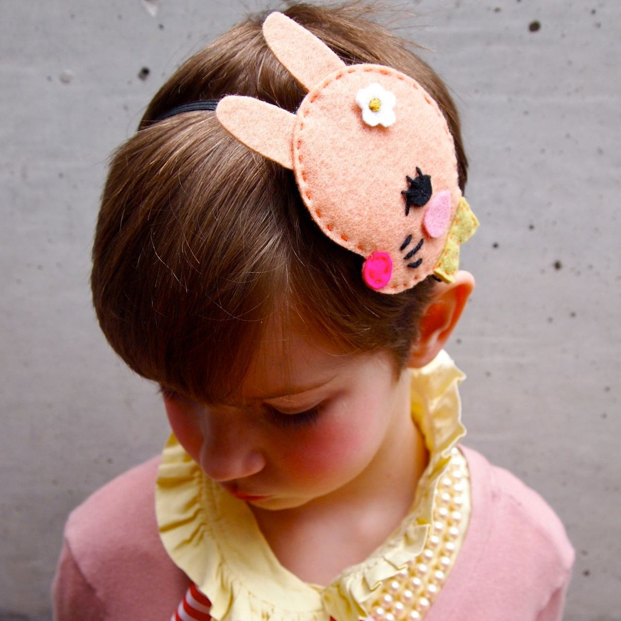 Girls Hair band felt bunny fascinator kids hair accessory pale Pink Rabbit