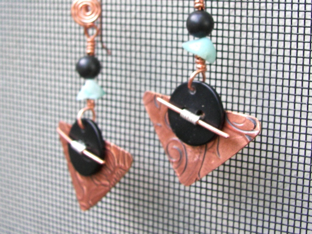 Copper and Button Freeform Earrings