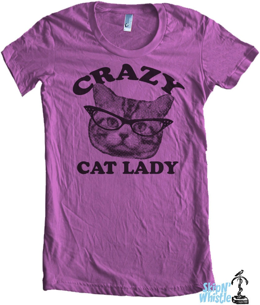 CRAZY CAT lady t shirt -- american apparel  S M L XL  ( 6 colors ) m8a