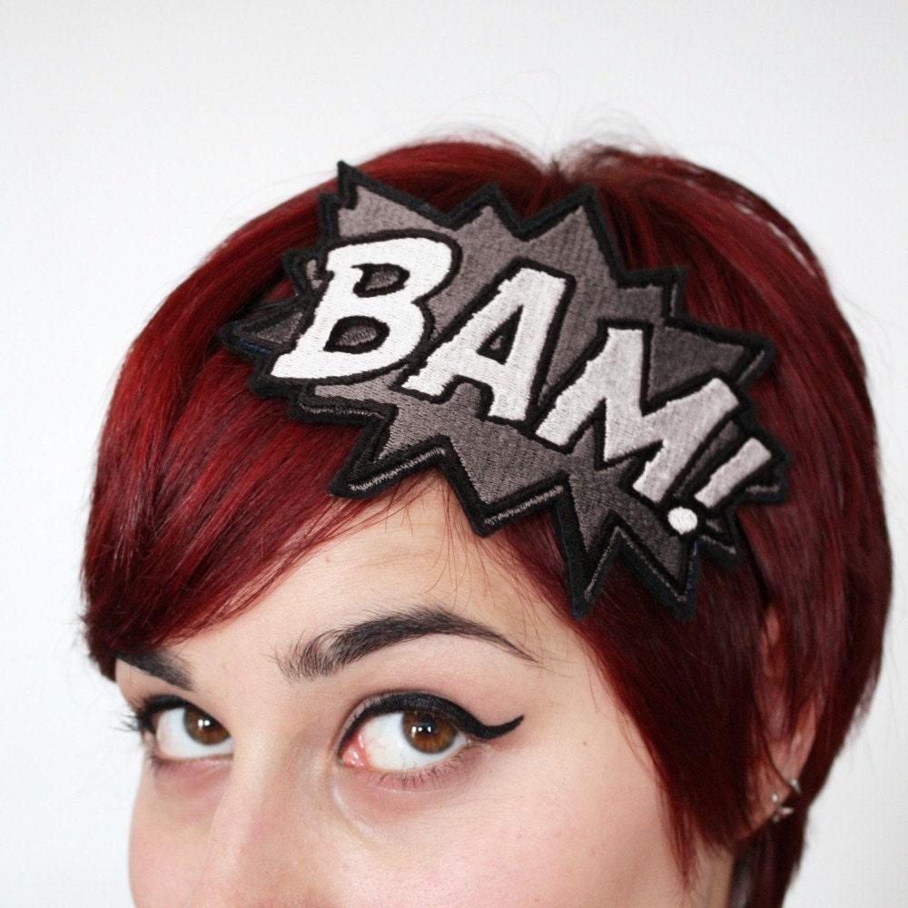 BAM Headband, Comic Inspired, Grey & white - JanineBasil