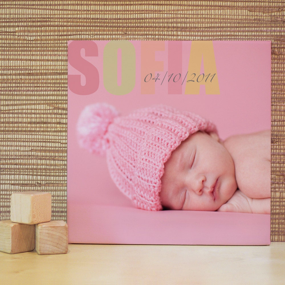 Personalized Nursery Art, Decor for Baby Nursery, Kids and Children Rooms. 10x10 Custom Photo Canvas - trendypeas