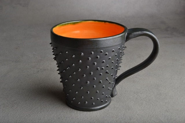 Made To Order Black and Orange Dangerously Spiky Mug by Symmetrical Pottery