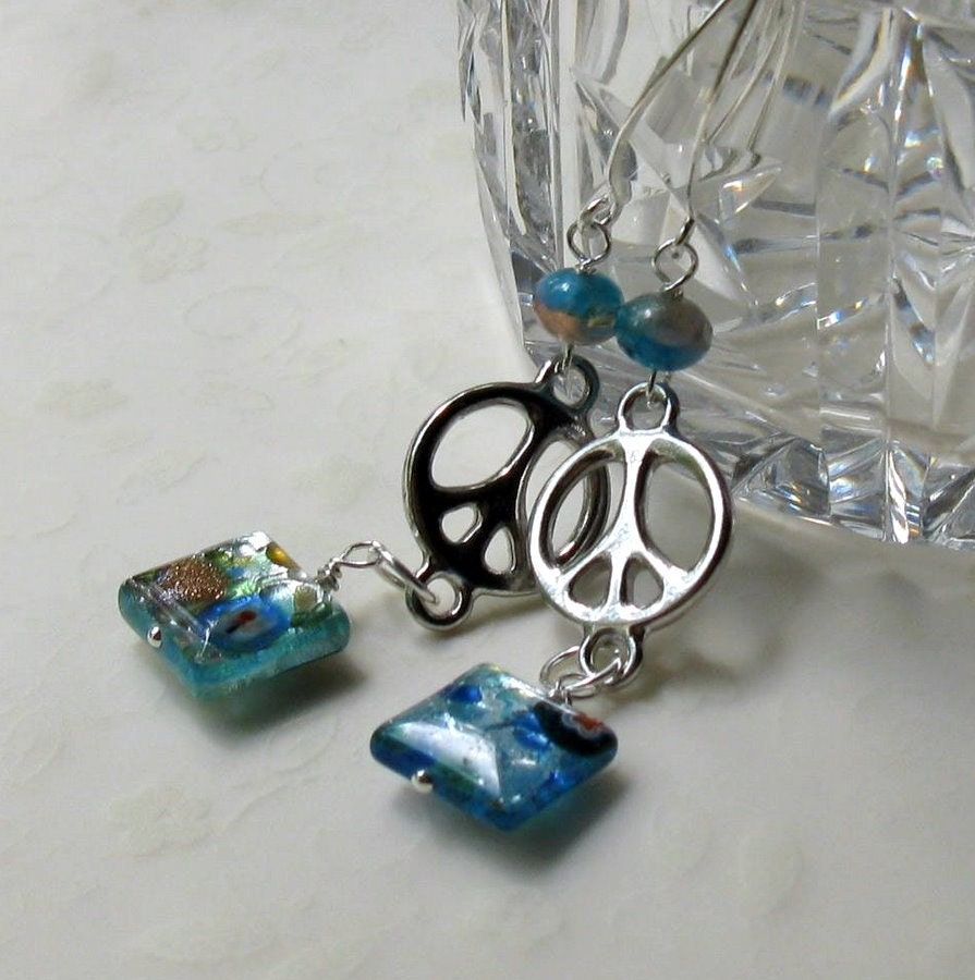 blue dichroic, silver, peace earrings - Freedom