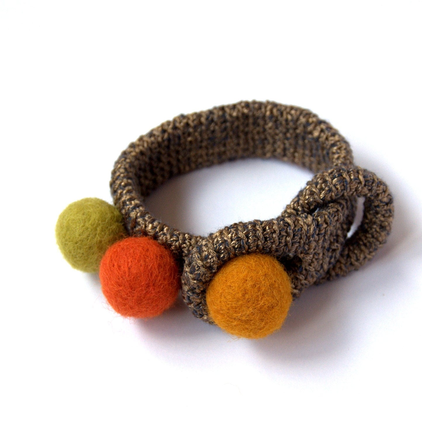 Golden brown olive orange bracelet -crochet and felted wool -handmade Birthday summer autumn gift for her Mom Mum - astash