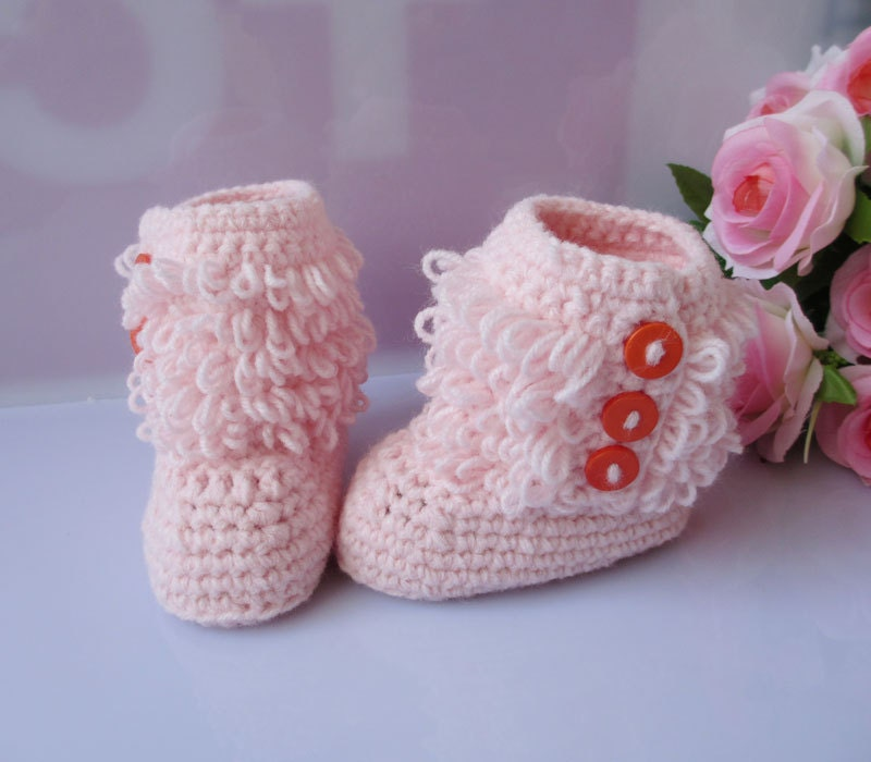 Pink handmade Crochet Baby Booties soft  girl baby toddle baby shoes for summer winter 3-12 months
