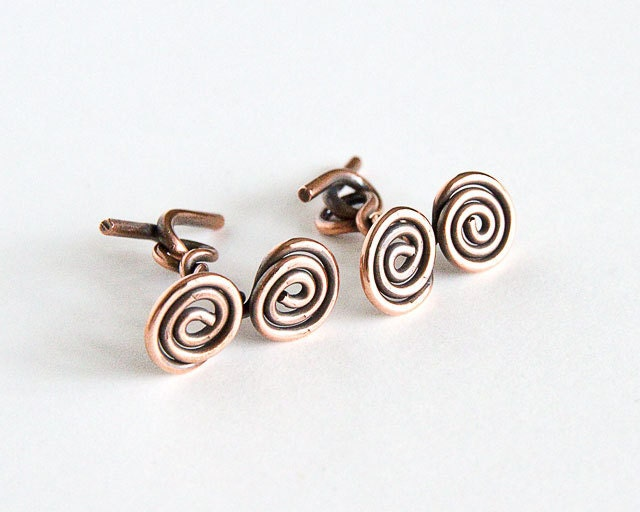 Copper Cufflinks Spiral Pattern Twin Spirals Antiqued Copper Dual Celtic Spirals Standard Size Cufflinks - Spoon37