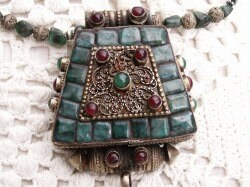 OOAK stunning emerald and ruby encrusted antique Tibetan silver Ghau - emerald necklace