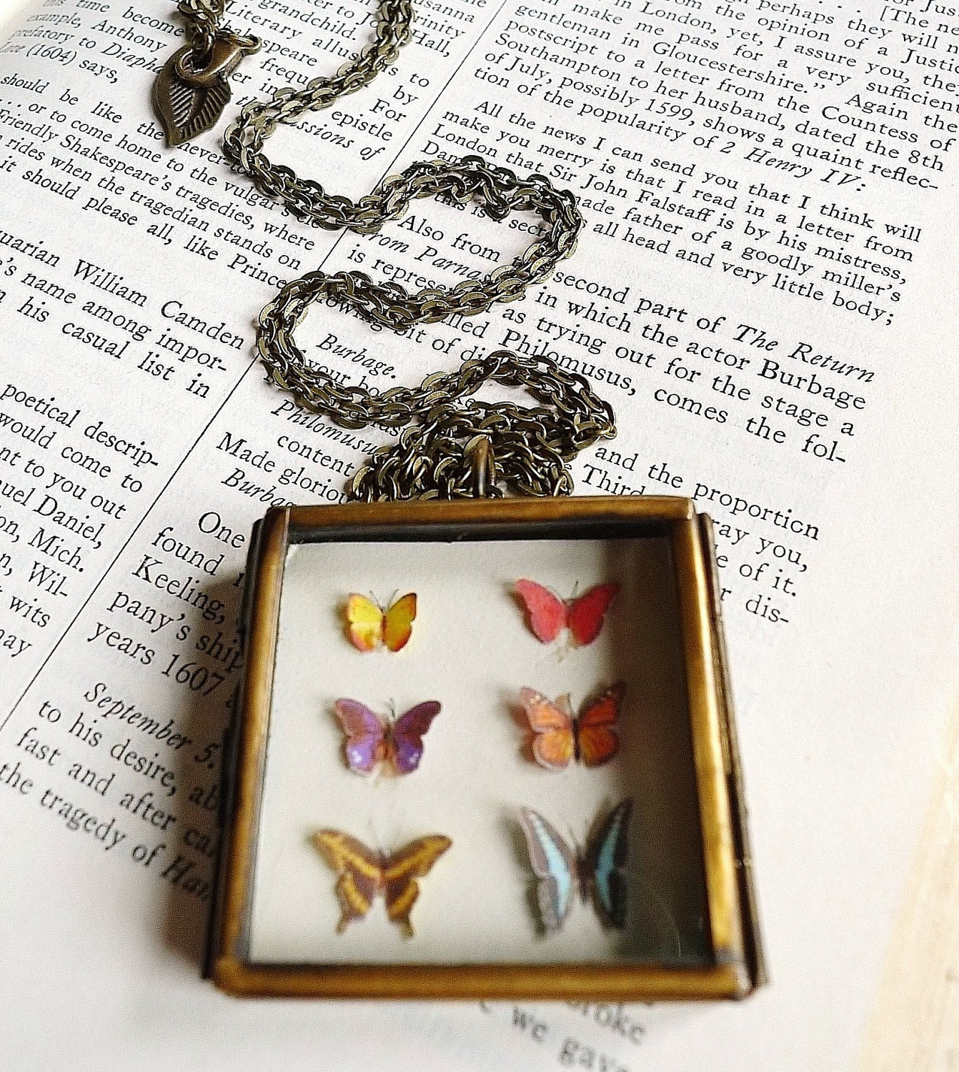 The Biology of Butterflies Hinged Locket Necklace Glass Caterpillar Cocoon Leaf Woodland