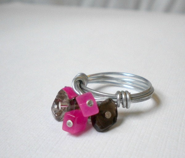 Hot Pink Black Cluster Ring Wire Wrapped