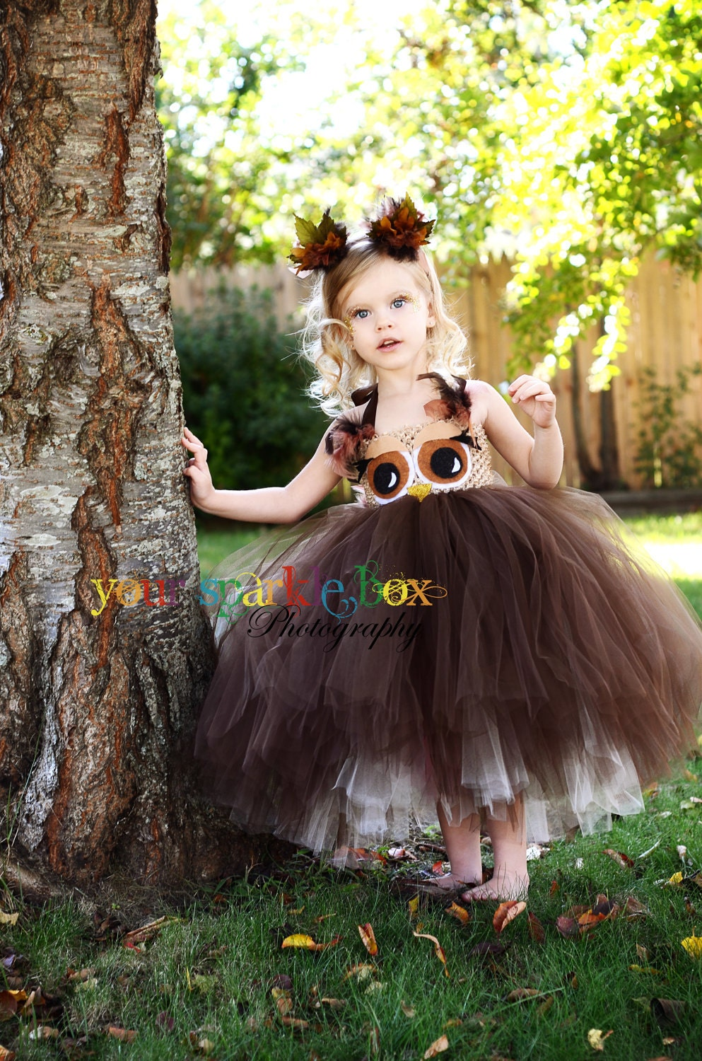 Owl tutu dress and matching headband nb -4t