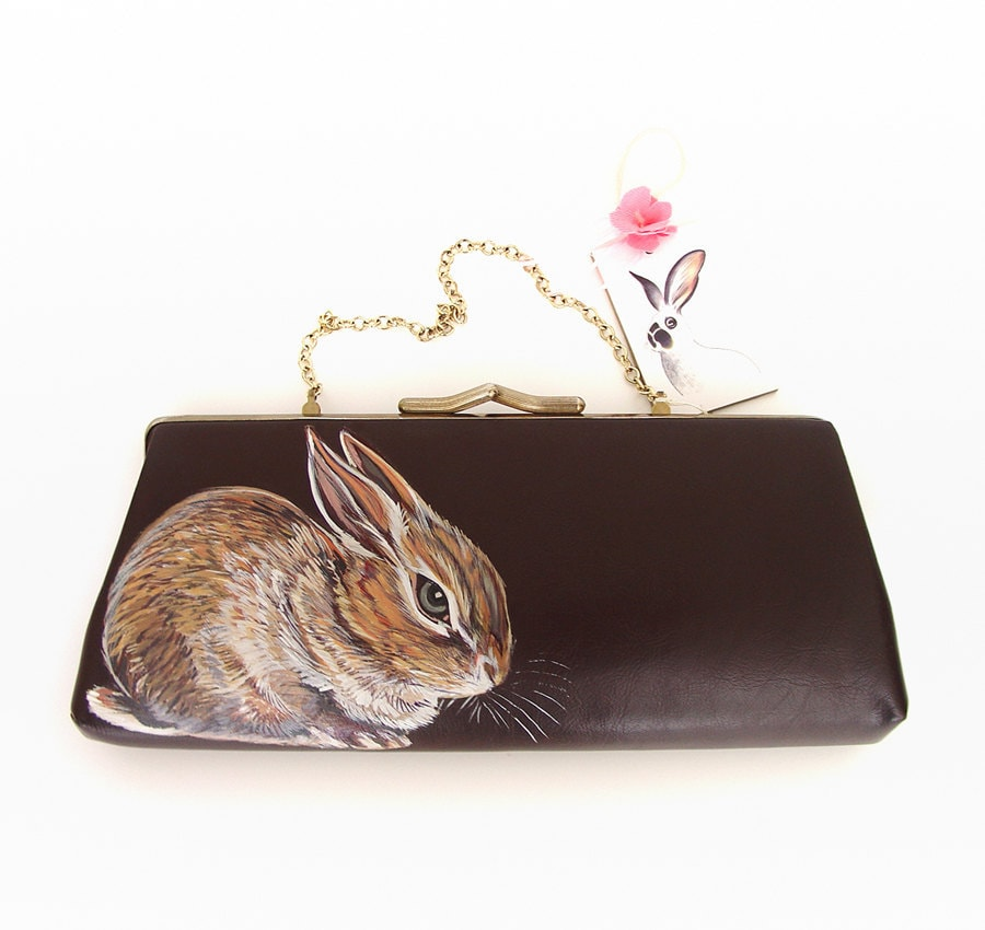 New by NYhop - Pygmy Rabbit handpainted vintage clutch - OOAK - 40s 50s faux brown leather with gold plated trims - NYhop