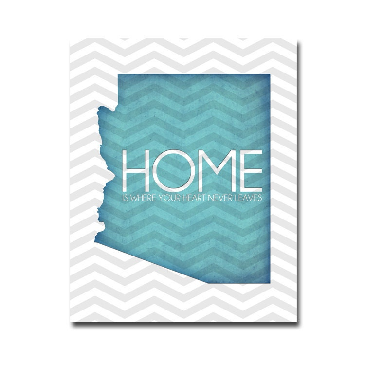 Arizona HOME Poster - 8x10 Digital Art Printable (.JPG) 300dpi - You Choose the COLOR