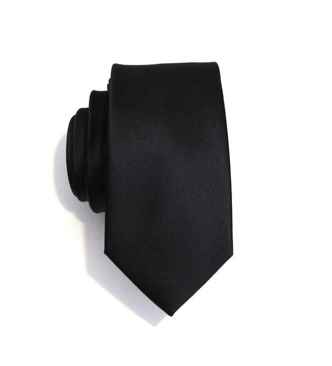 Mens Necktie Black Skinny Silk Tie