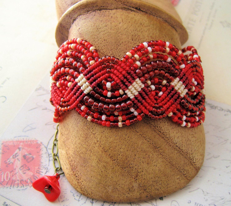 Red Red Roses Beaded Macrame Bracelet Micro-Macrame - KnotJustMacrame