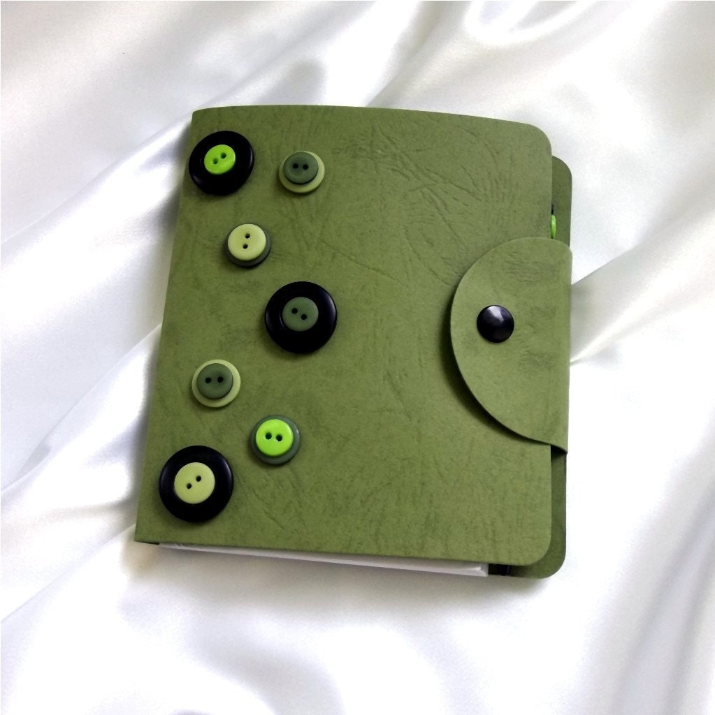 Button Embellished Notebook & Pen - Sage, Black