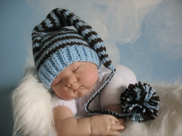 Newborn Elf Handknitted Pixie Cap in a Soft Blue and Coffee Brown Stripes, Photo Prop, IN STOCK - babyknitsnfrills