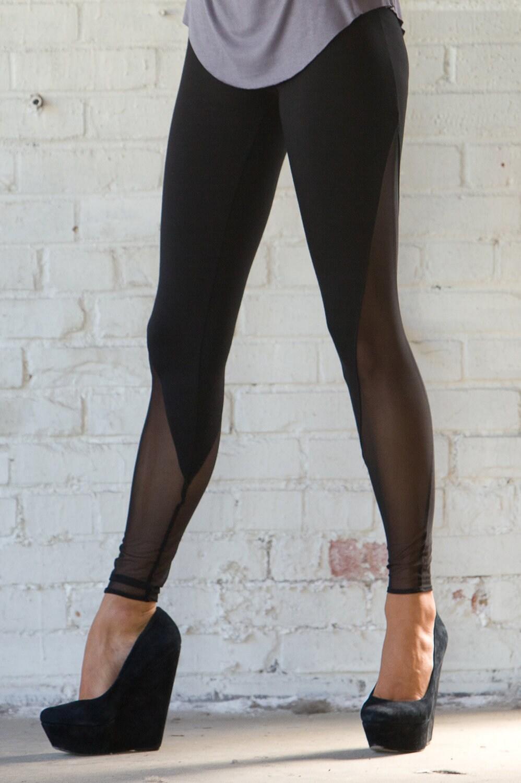 Mesh V-Panel High Waisted Leggings Custom Hand Made