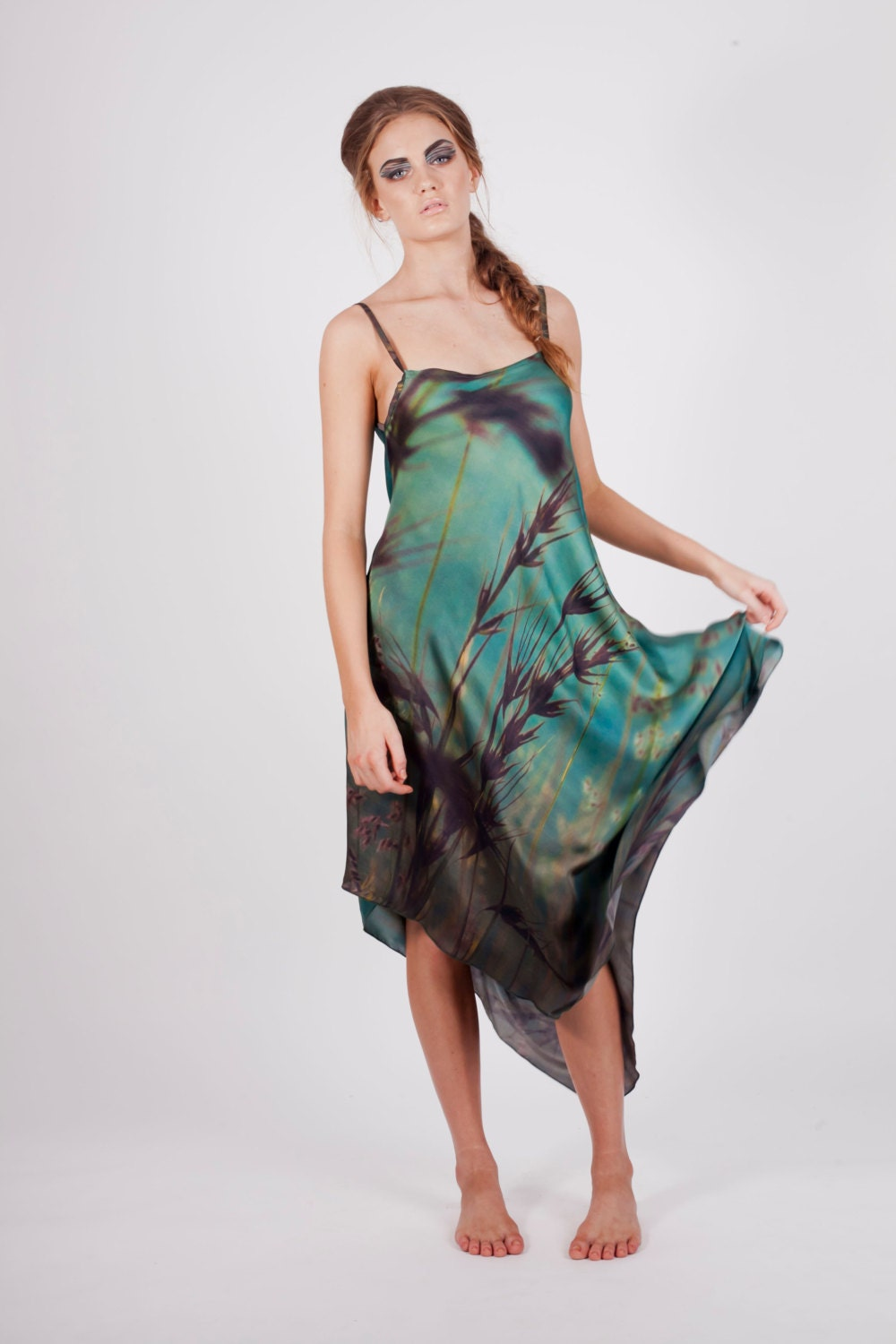 Long Silk Georgette Dress Printed with Ocean and Grasses at Sunset - HarrietJane