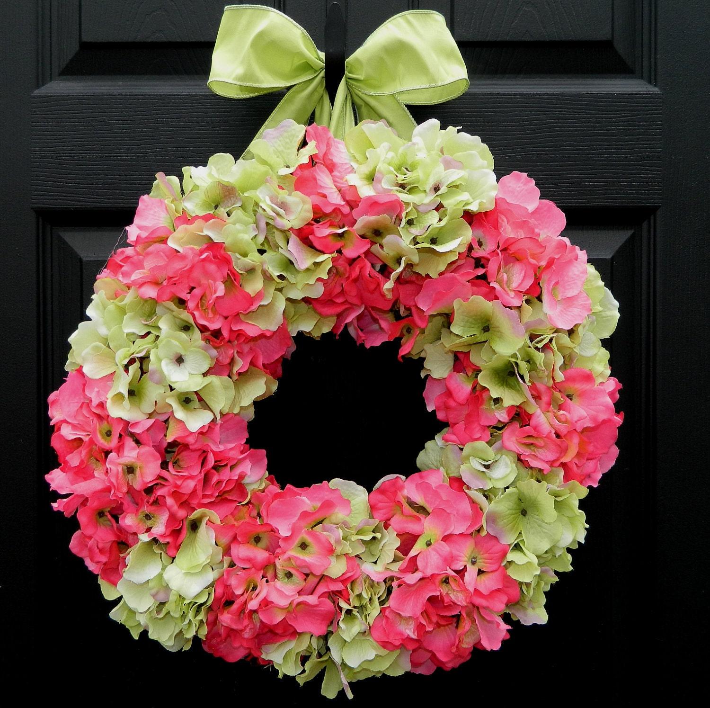 Spring Wreath - Summer Wreath - Hydrangea Wreath - Outdoor Wreath - Pink Wreath - EverBloomingOriginal