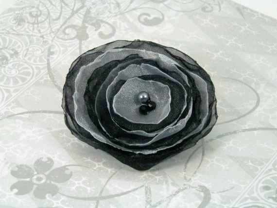 Black and White Organza Flower Hair Clip  Beaded