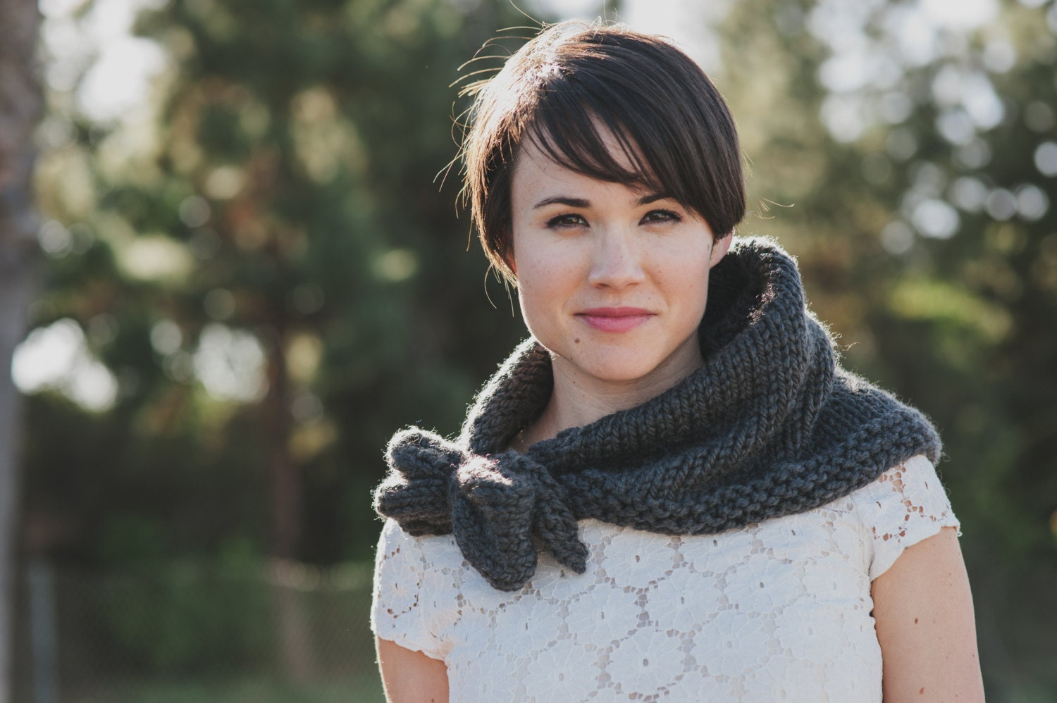 Chunky Knit Kerchief Cowl Bow Neck Scarf