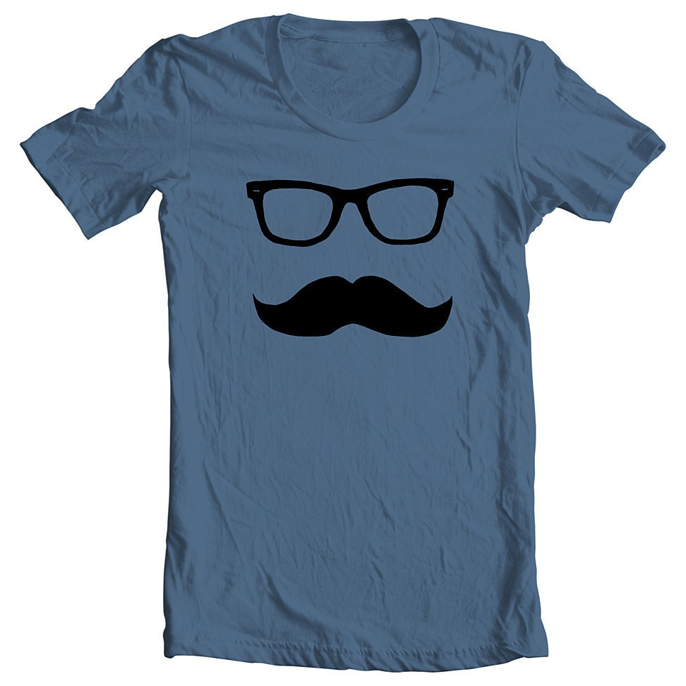 Wayfarer Mustache - Men's Women's - Indigo Tshirt T shirt Tee - Available in sizes s, m, l (gct) (ns)