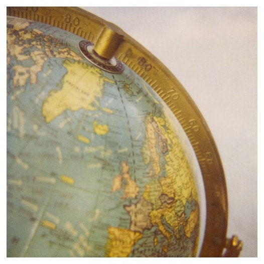 Polaroid Photograph - Vintage Globe - World- Map - Fine Art Polaroid Photograph- Iceland- Alicia Bock Photography