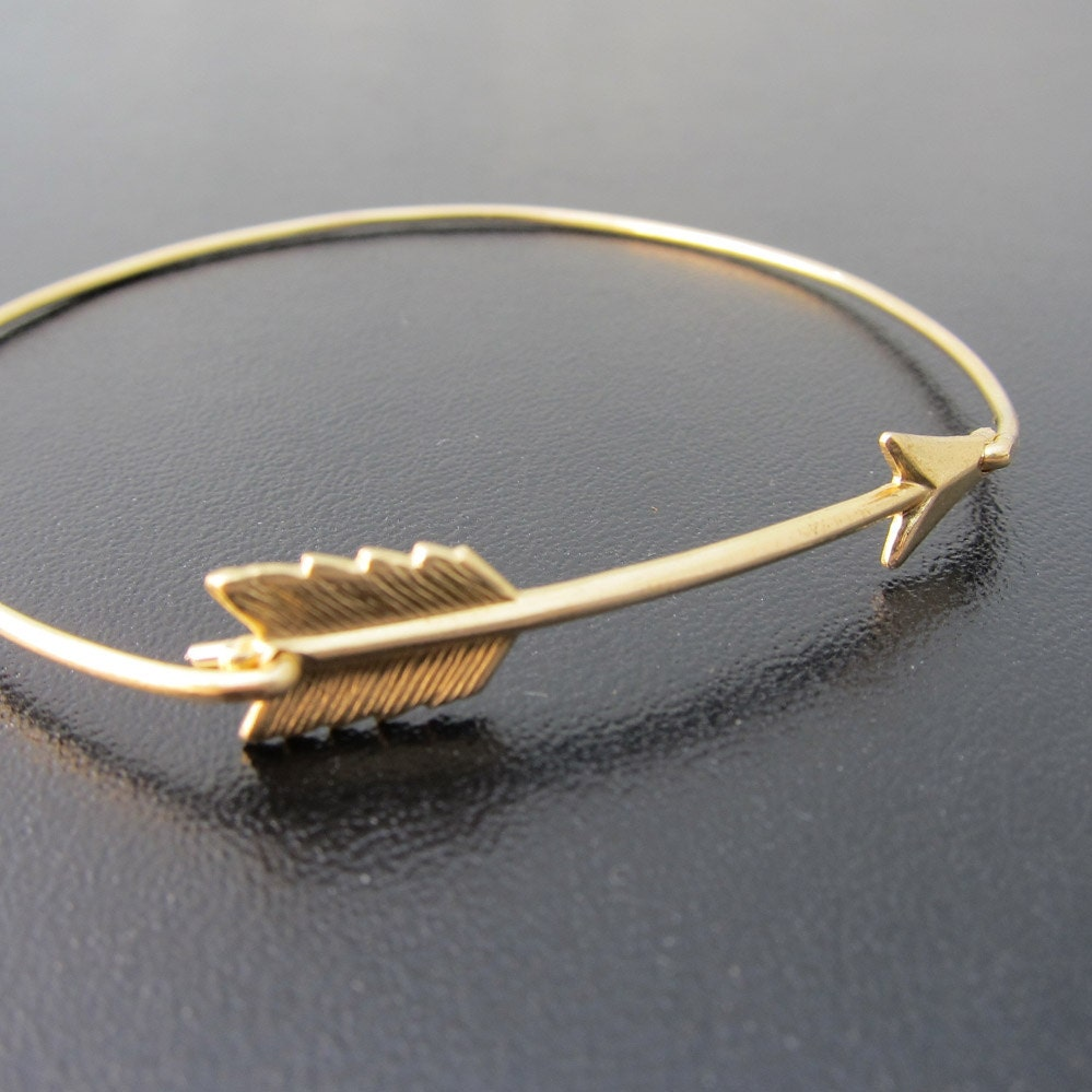Arrow Bangle Bracelet, Gold Bangle Bracelet, Gold Arrow Bracelet, Arrow Jewelry, The Hunger Games Jewelry, The Hunger Games Bracelet