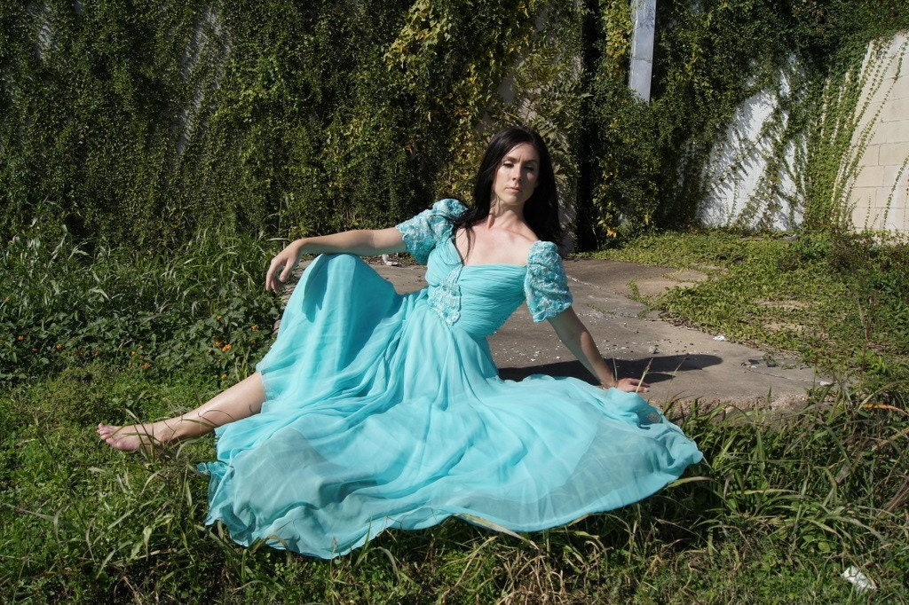 Vintage Couture Richilene Gown - Aquamarine