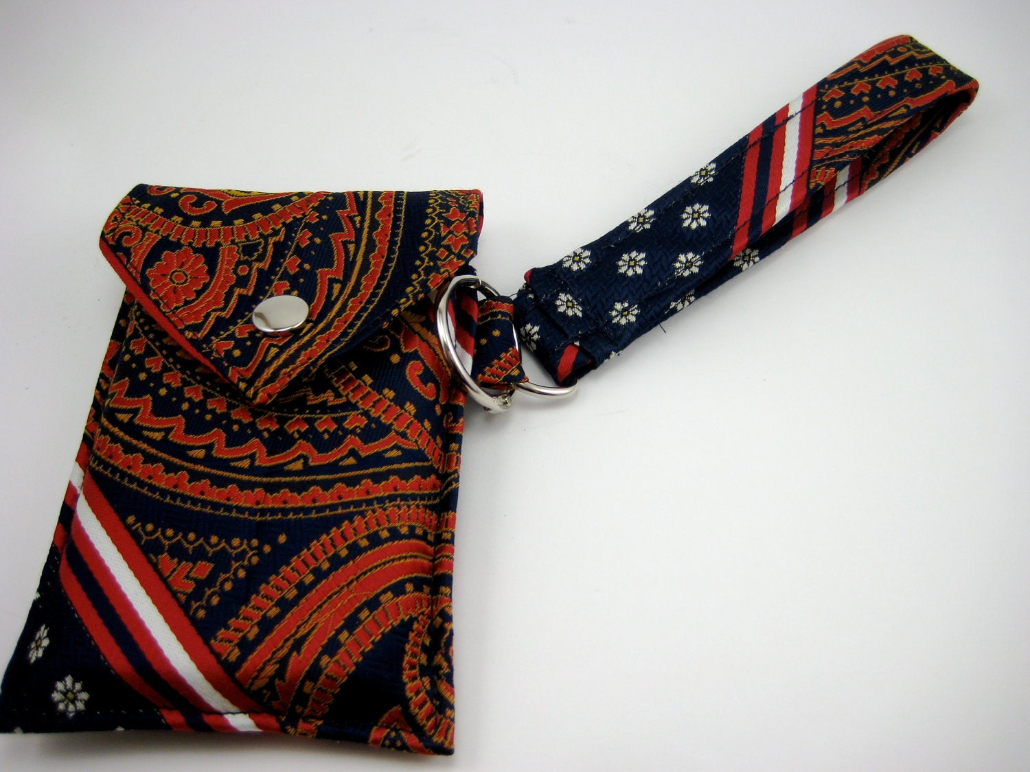 Handmade Necktie Wristlet Wallet Red and Navy