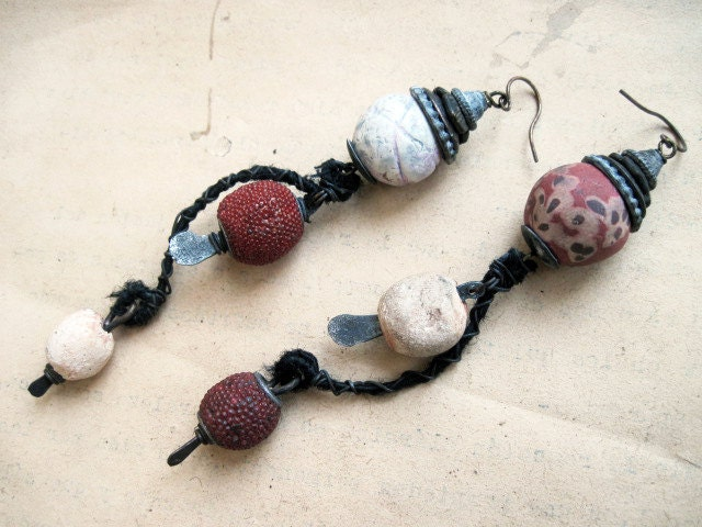 The Mendicant. Asymmetrical Tribal Assemblage Dangles with Ceramic Art Beads.