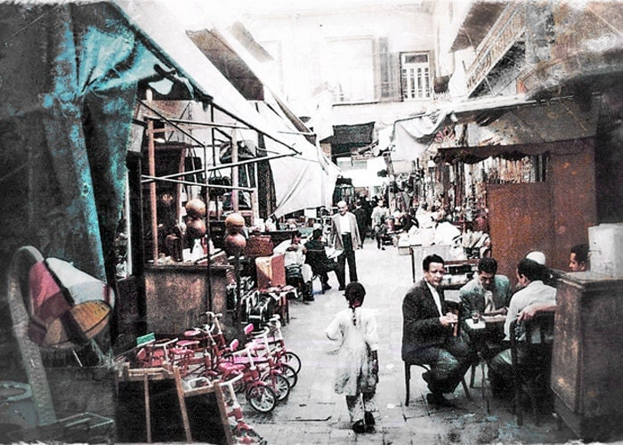 Cairo markets, Egypt 1957, vintage color photo from original kodak slide - PapasVintagePhotoBox