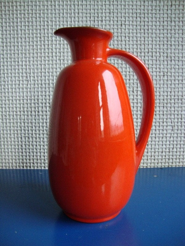 Rare Flame Red Frankoma Pitcher 835 Beautiful Fire Wick Ewer OK Honey Love