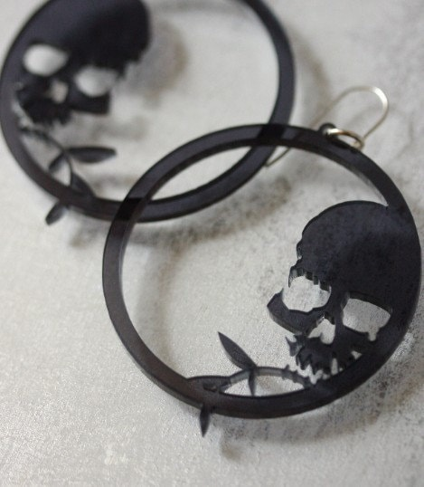 Skull and Bamboo hoops - Black