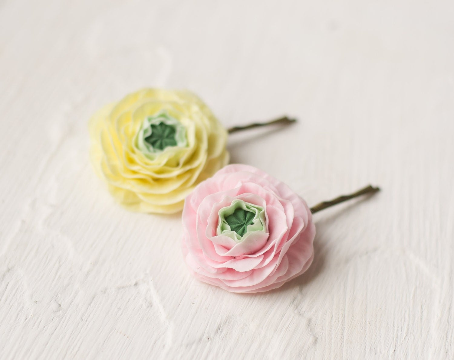 Ranunculus hair clip flower bobby pin set yellow pink ranunculus flower - valentines day, gift for her