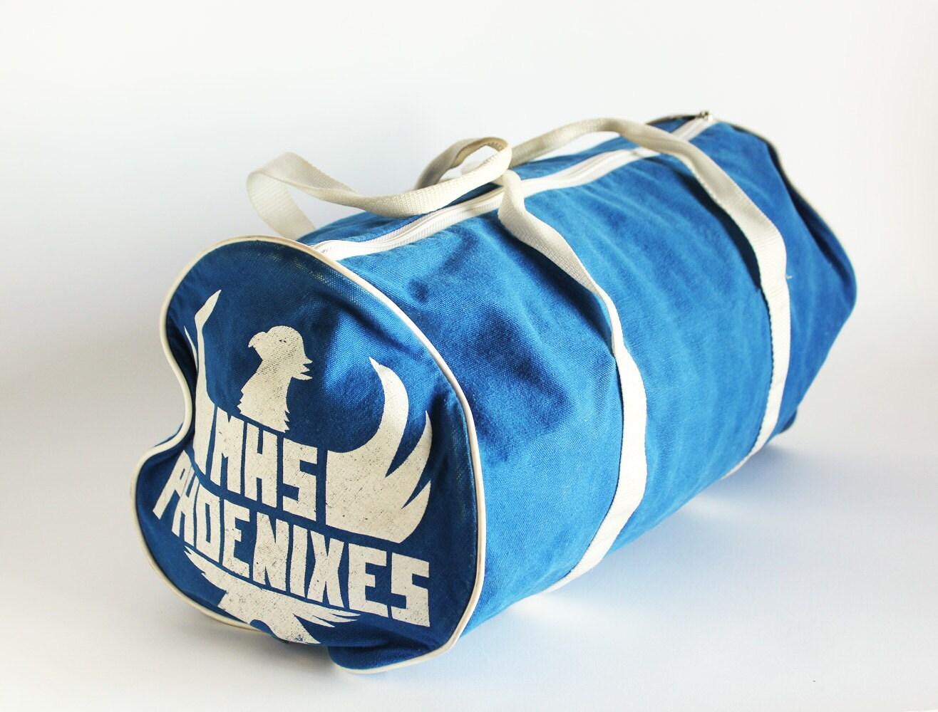 High School Gym Bag - Blue and White Duffle - Retro Eighties - MiesEnScene