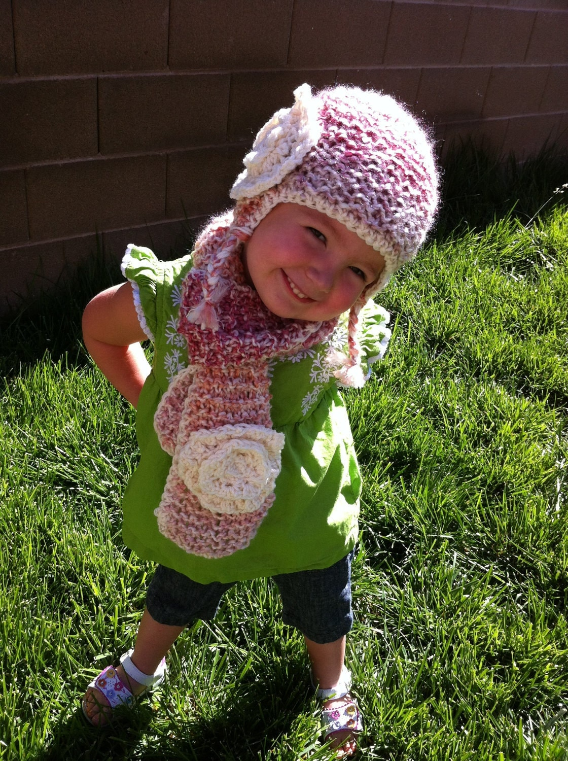 Children's Hand knitted hat and scarf with large crochet flower - Color shown is Parfait