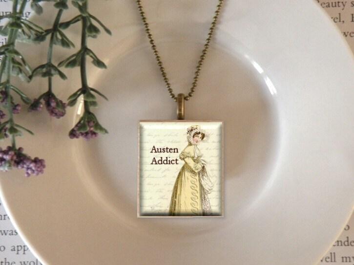 scrabble pendant jane austen addict antique bronze necklace set