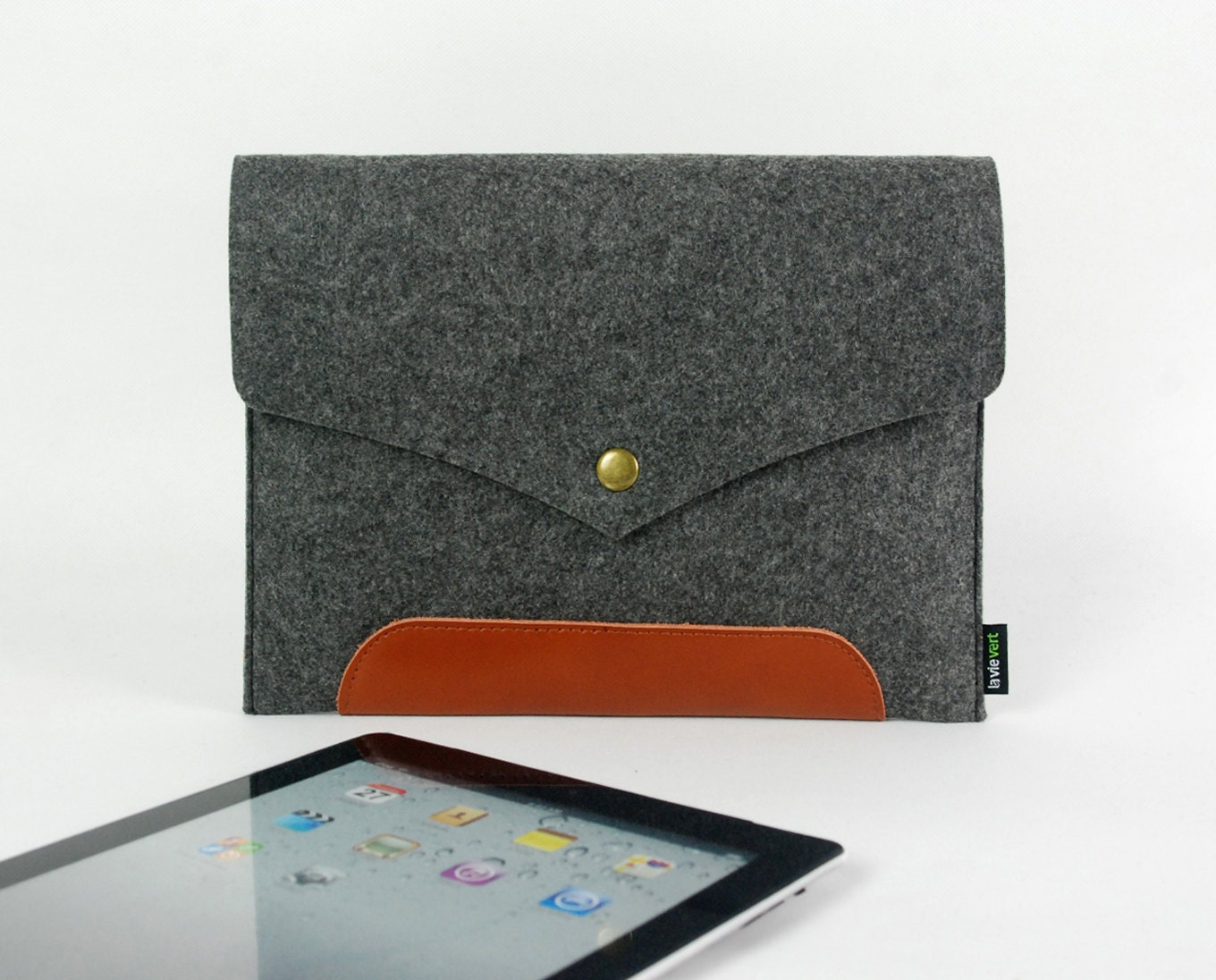 Genuine Leather Hand Made Grey Felt iPad Case iPad Sleeve iPad Cover iPad Holder Real Leather Handmade ipad 1 2 new ipad :E1137-MGra01