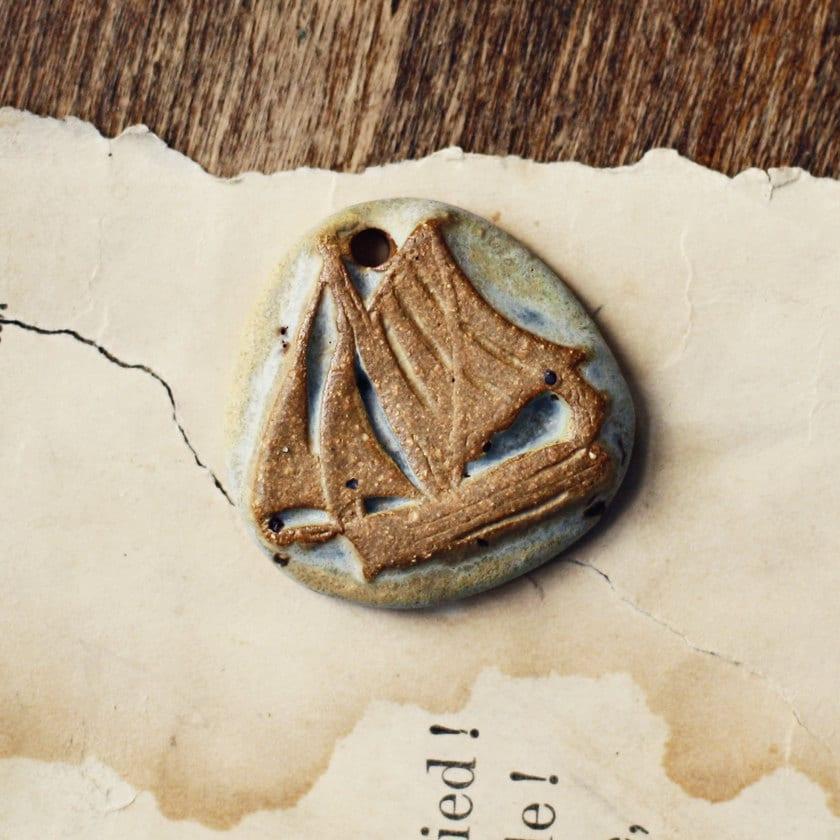 Ship- handmade ceramic pendant- pastel - kylieparry