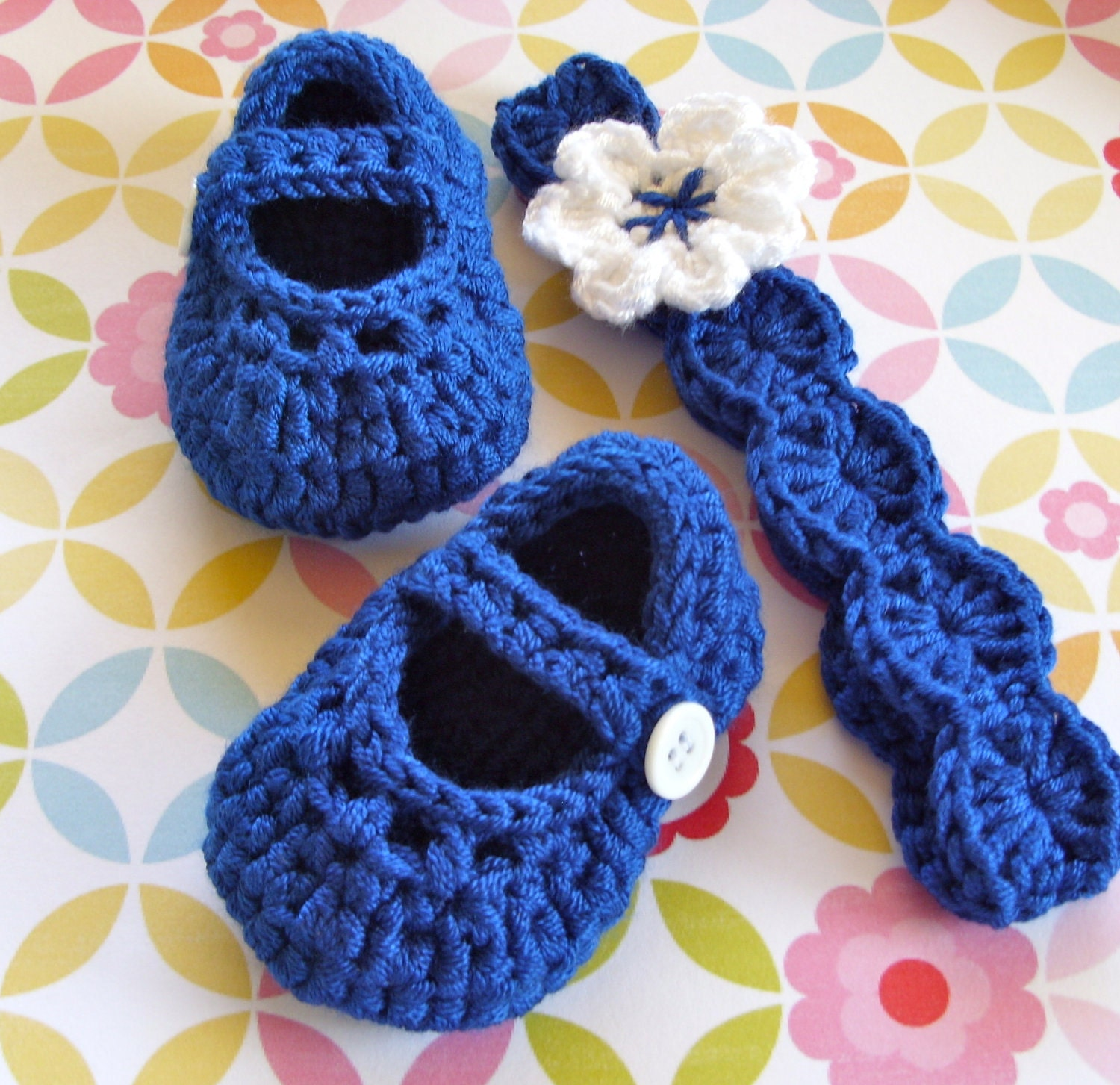 Baby Girl Mary Jane Shoes Matching Headband Set Bright Blue Modern Crochet Booties 3/6 Months Size 2 - LisaCorinneHandmade