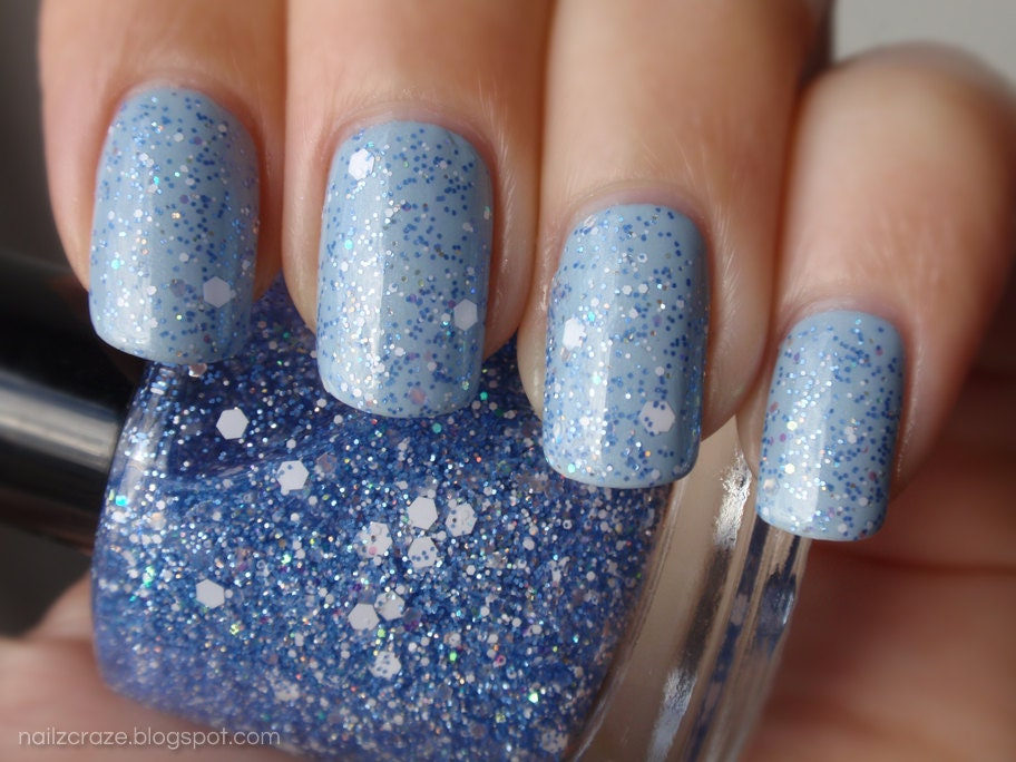 Nail Polish: Wonderland - Periwinkle Iridescent and White Glitters