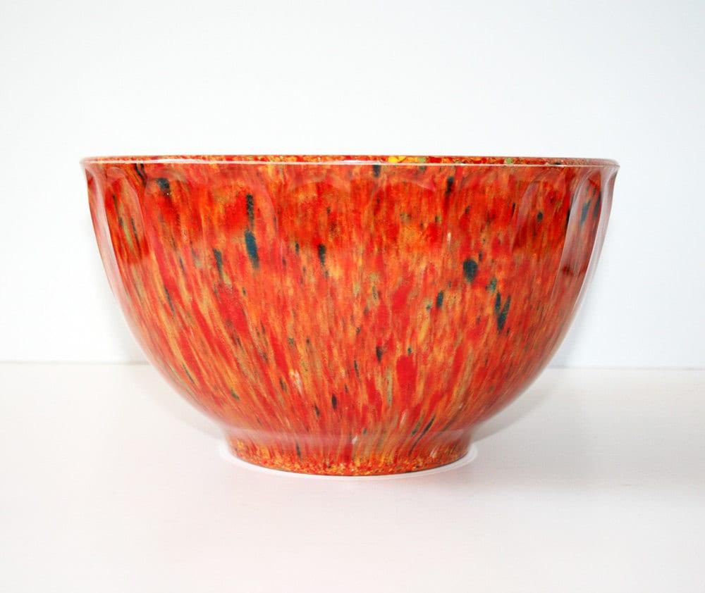 Orange/Red Melamine Melmac Confetti Splatter Bowl - Booton, NJ